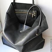 кожаная сумка на заказ черная с карманом