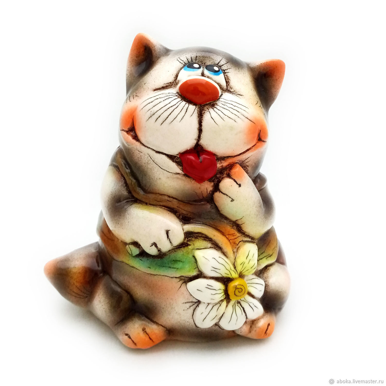 Ceramic statuette ' cat with chamomile', Figurine, Balashikha,  Фото №1