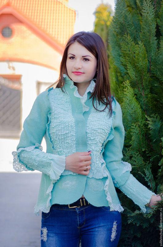 Пиджаки, жакеты ручной работы. Ярмарка Мастеров - ручная работа. Купить Жакет валяный Мятный флирт. Handmade. Абстрактный, для девушки