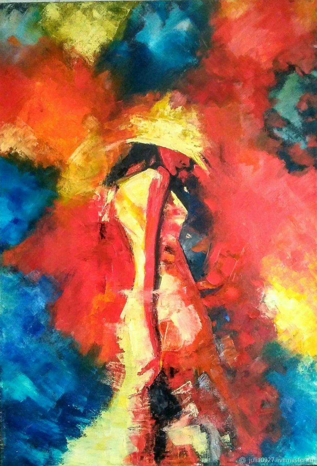 Painting girl in a hat interior oil painting palette knife, Pictures, Ekaterinburg,  Фото №1
