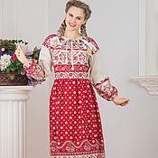 Русский стиль handmade. Livemaster - original item Dress linen Singing Russian folk. Handmade.