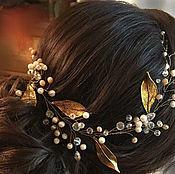 Украшения ручной работы. Ярмарка Мастеров - ручная работа Украшение для причёски с золотыми листиками. Handmade.