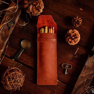 Канцелярские товары ручной работы. Ярмарка Мастеров - ручная работа Пенал для ручек и карандашей кожаный LANCE. Handmade.