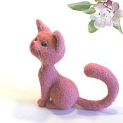 Felted Toy handmade. Livemaster - original item Pink cat Daisy. Felted toy made of wool. Handmade.
