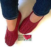 """Носки ручной работы. Ярмарка Мастеров - ручная работа Вязаные следки """"Атлант"""" Полушерсть носки тапочки. Handmade."""