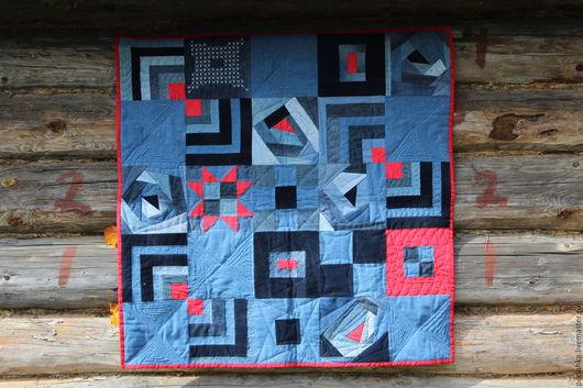 Текстиль, ковры ручной работы. Ярмарка Мастеров - ручная работа. Купить Джинсовый коврик. Handmade. Тёмно-синий, лоскутное шитье