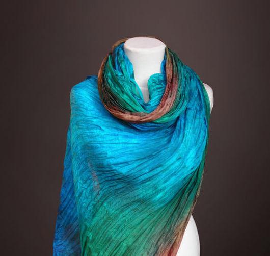"""Шали, палантины ручной работы. Ярмарка Мастеров - ручная работа. Купить Большой шелковый шарф с подвесками """"Дремучий лес"""" Батик. Handmade."""