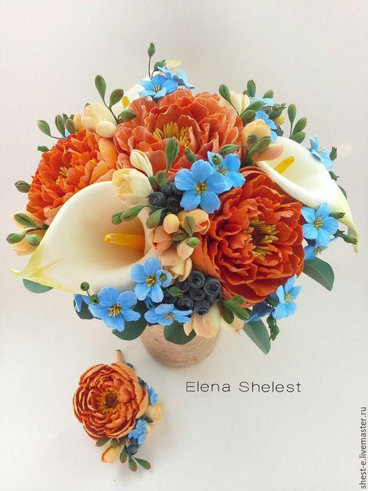 Букет невесты и бутоньерка с цветами ручной работы
