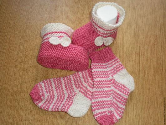 Для новорожденных, ручной работы. Ярмарка Мастеров - ручная работа. Купить Пинетки-носочки. Handmade. Коралловый, ручная работа купить