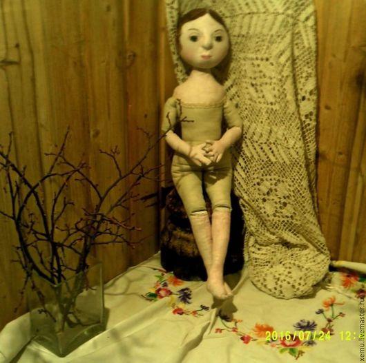 """Коллекционные куклы ручной работы. Ярмарка Мастеров - ручная работа. Купить Куколка в стиле """"Антик"""". Handmade. Бежевый, лён, кружево"""