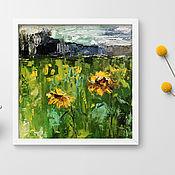 Картины и панно handmade. Livemaster - original item Sunflowers, summer landscape oil on canvas, 20h20cm. Handmade.