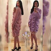 Одежда ручной работы. Ярмарка Мастеров - ручная работа Модное вязаное платье из тонкого мохера. Handmade.