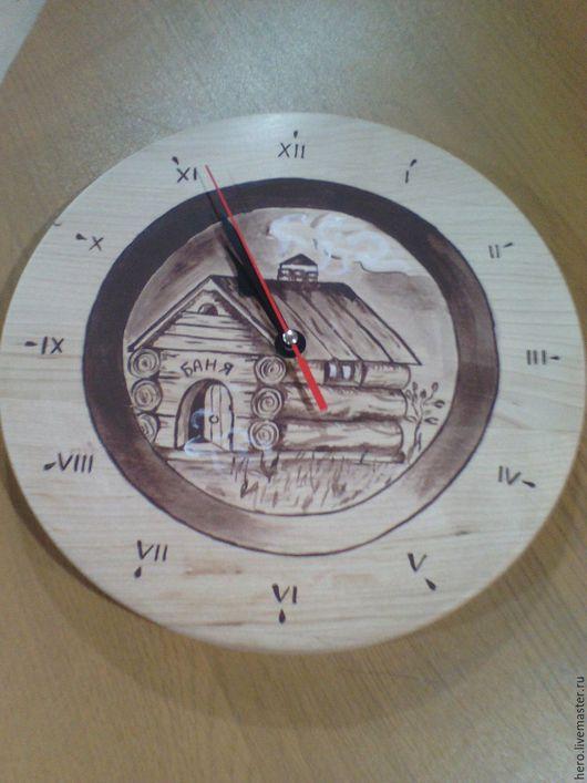 Банные принадлежности ручной работы. Ярмарка Мастеров - ручная работа. Купить Деревянные часы для бани. Handmade. Бежевый, баня