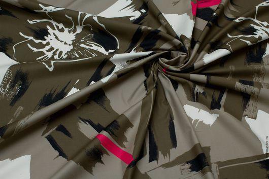 Шитье ручной работы. Ярмарка Мастеров - ручная работа. Купить Хлопок Хаки с розовыми полосами. Handmade. Купить хлопковую ткань