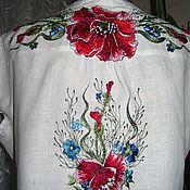 """Блузки ручной работы. Ярмарка Мастеров - ручная работа вышиванка блуза """"ЦВЕТОЧНЫЙ ВАЛЬС""""ручная вышивка. Handmade."""