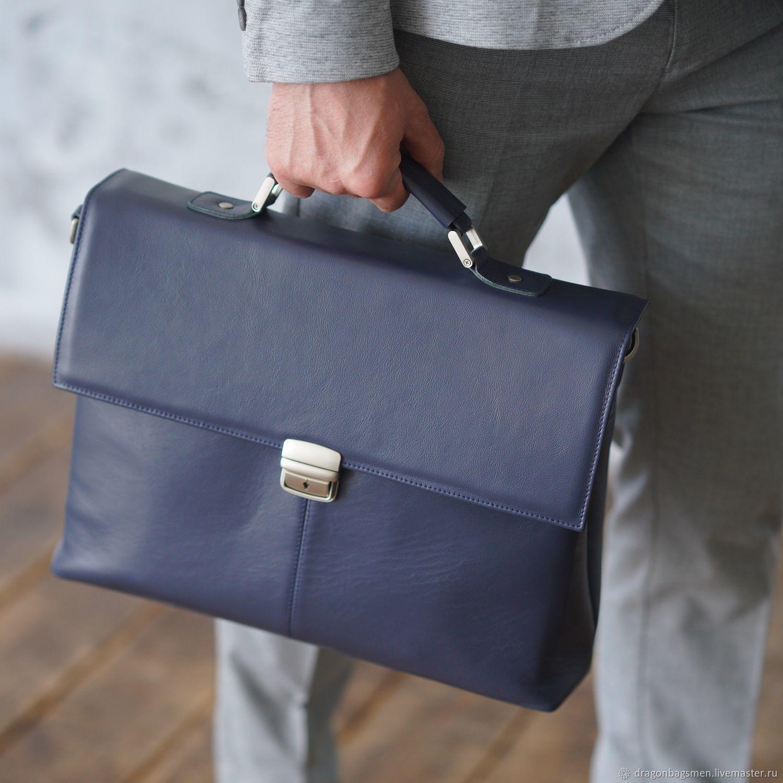 Men's leather briefcase 'Richard' (Dark blue), Brief case, Yaroslavl,  Фото №1