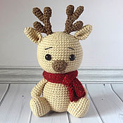 Куклы и игрушки handmade. Livemaster - original item Knitted toy Fawn in a scarf. Handmade.