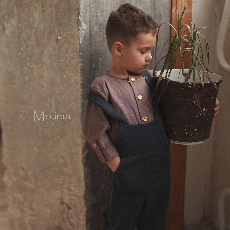 Рубашка с длинным рукавом для мальчика лён хлопок цвет латте, Одежда, Калининград,  Фото №1