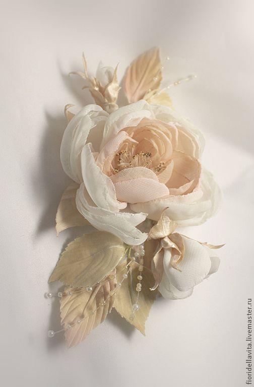 """Броши ручной работы. Ярмарка Мастеров - ручная работа. Купить Цветы из ткани. Свадебное украшение """"Крем-беж"""". Handmade. Бежевый"""