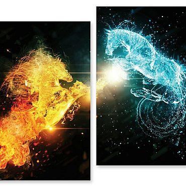 """Картины и панно ручной работы. Ярмарка Мастеров - ручная работа Модульная картина """"Огонь и лёд"""". Handmade."""