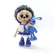 Куклы и игрушки handmade. Livemaster - original item Knitted toy spring in lilac with blue Bunny. Handmade.
