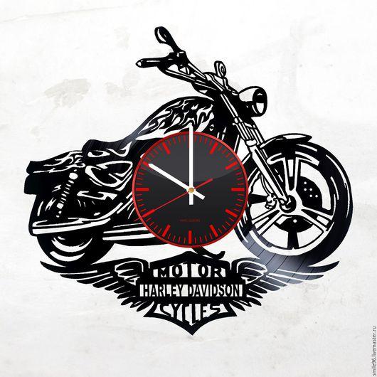 """Часы для дома ручной работы. Ярмарка Мастеров - ручная работа. Купить Часы из пластинки """"Harley-Davidson"""". Handmade. Harley-davidson"""