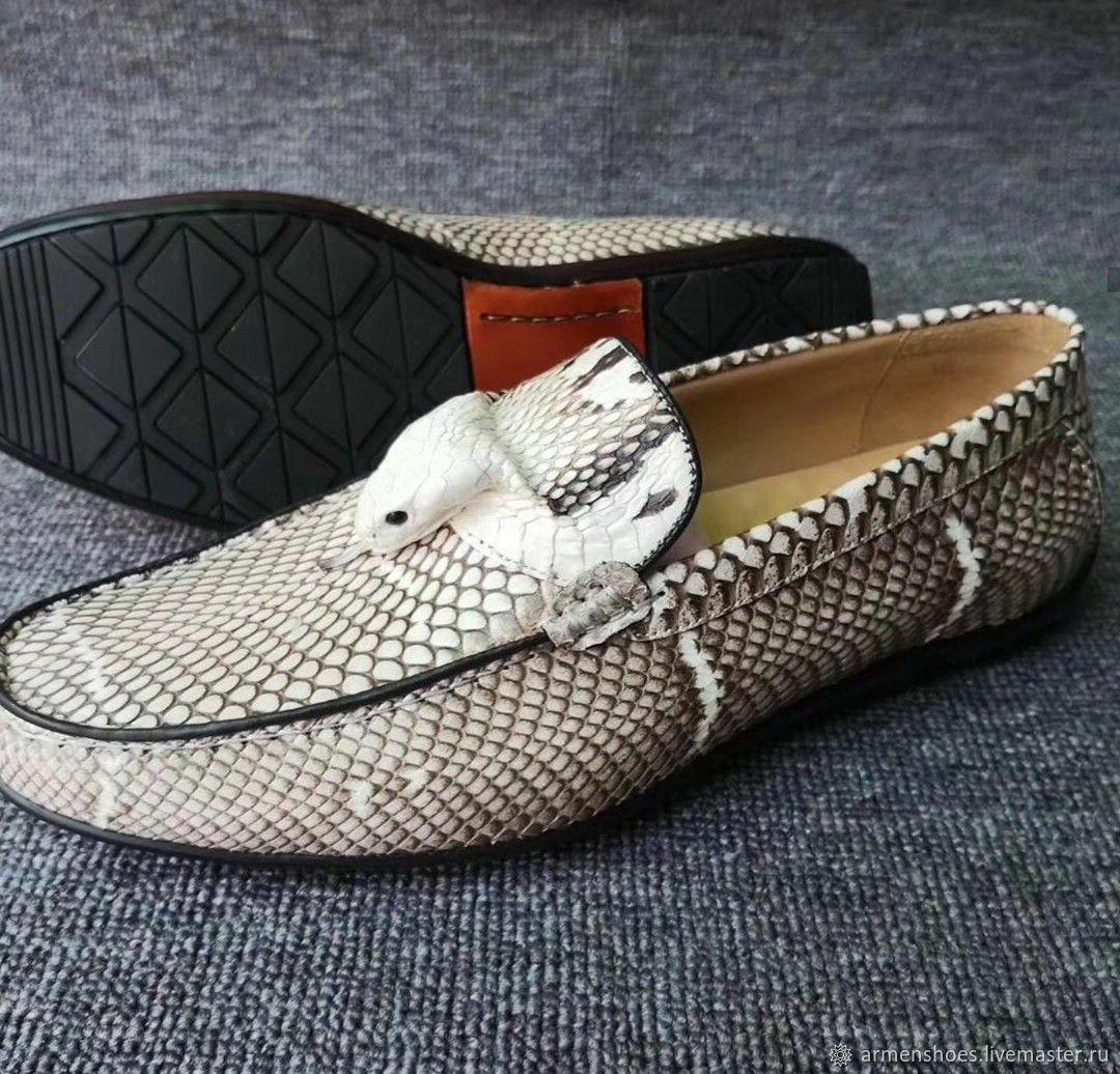 Обувь ручной работы. Ярмарка Мастеров - ручная работа. Купить Мокасины из натуральной кожи королевской кобры, естественный  цвет. Handmade.