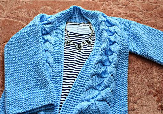 Кофты и свитера ручной работы. Ярмарка Мастеров - ручная работа. Купить Вязаный кардиган из полушерсти, кардиган-пальто. Handmade.