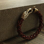 Украшения handmade. Livemaster - original item Leather bracelet with Ravens. Handmade.
