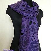 """Аксессуары ручной работы. Ярмарка Мастеров - ручная работа женский валяный шарф """"Violet night"""". Handmade."""
