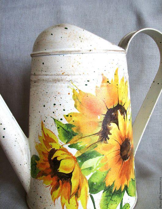"""Лейки ручной работы. Ярмарка Мастеров - ручная работа. Купить Лейка """"Подсолнухи"""", садовая, ваза, для цветов, полива, оцинкованная. Handmade."""