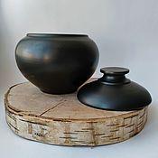 Посуда handmade. Livemaster - original item Pot ceramic with lid. Black pottery.. Handmade.