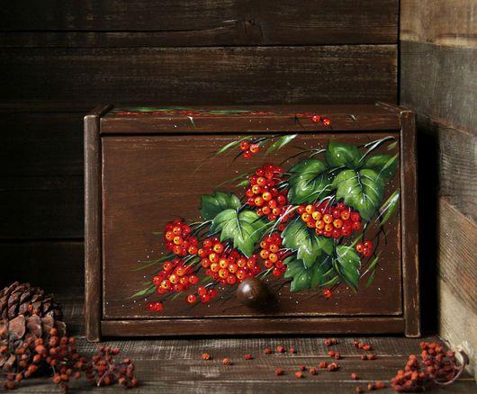 """Кухня ручной работы. Ярмарка Мастеров - ручная работа. Купить Деревянная хлебница """"Калина красная"""" (кедр). Handmade. Ярко-красный"""