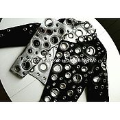 Одежда handmade. Livemaster - original item Jacket with grommets black leather and silver leather lining. Handmade.