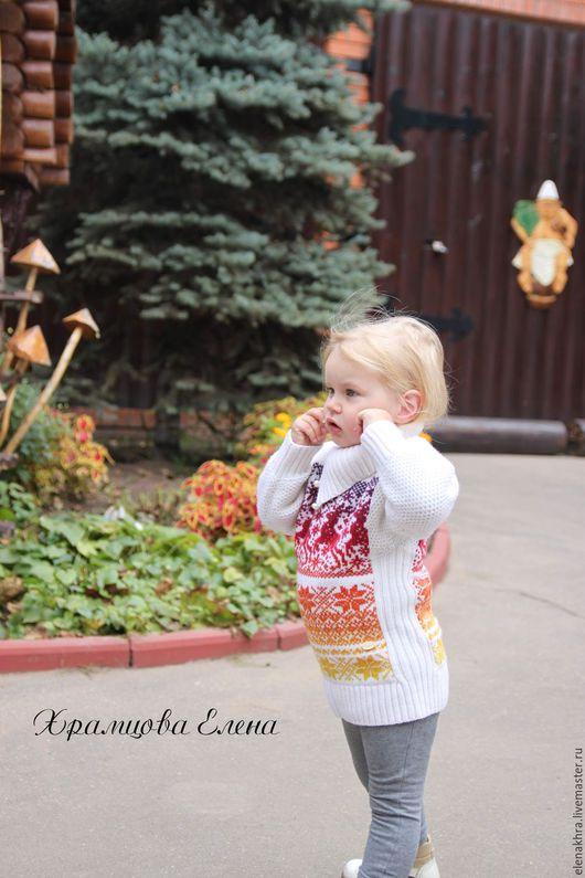 """Одежда унисекс ручной работы. Ярмарка Мастеров - ручная работа. Купить Шерстяной джемпер """"Олени"""". Handmade. Комбинированный, для девочки"""