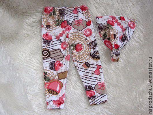 Одежда для девочек, ручной работы. Ярмарка Мастеров - ручная работа. Купить штанишки косынка на резинке бандана повязка. Handmade. Белый