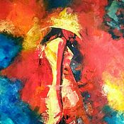 Картины и панно handmade. Livemaster - original item Painting girl in a hat interior oil painting palette knife. Handmade.