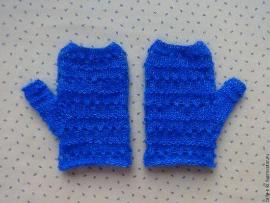 Варежки, митенки, перчатки ручной работы. Ярмарка Мастеров - ручная работа. Купить Синие ажурные митенки. Handmade. Тёмно-синий