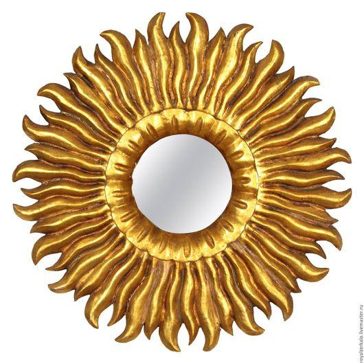 купить зеркало солнце. резное зеркало. декорирование стен.