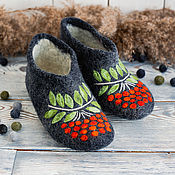 Обувь ручной работы handmade. Livemaster - original item Slippers: high Rowan felted women`s with leather prevention. Handmade.