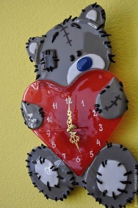 """Часы для дома ручной работы. Ярмарка Мастеров - ручная работа. Купить Часы настенные из стекла """"Мишка Тедди"""". Фьюзинг.. Handmade."""