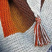 Аксессуары ручной работы. Ярмарка Мастеров - ручная работа Осенняя шаль платок с кистями. Handmade.