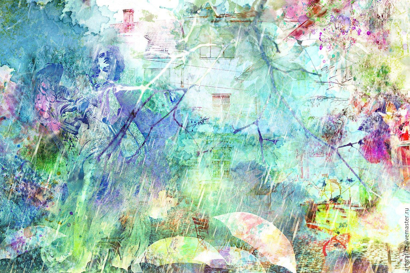 watercolor Rain in the old town