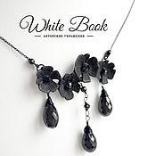 Украшения handmade. Livemaster - original item Flower pendant with black spinel, matte black, chain pendant. Handmade.