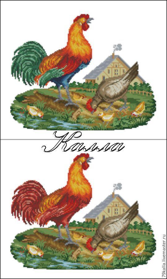 Вышивка петух курица цыплята