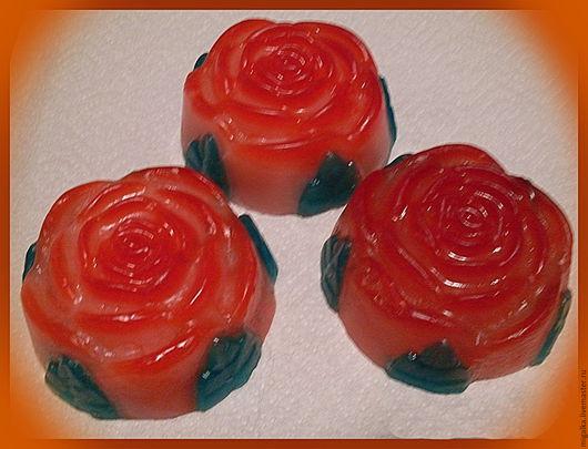 """Мыло ручной работы. Ярмарка Мастеров - ручная работа. Купить мыло  """"Роза-1"""". Handmade. Ярко-красный"""