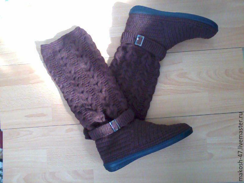 Boots knitted boots, High Boots, Vyazniki,  Фото №1