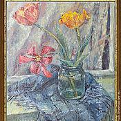 Картина Тюльпаны Ранняя весна Холст масло Живопись маслом в подарок