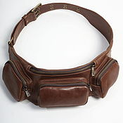 Сумки и аксессуары handmade. Livemaster - original item Brown Leather Belt Bag on a Hip. Handmade.