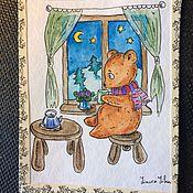 """Открытки ручной работы. Ярмарка Мастеров - ручная работа Авторская открытка, """"Вечерний чай"""".. Handmade."""